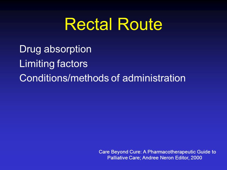 Rectal Route Drug absorption Limiting factors