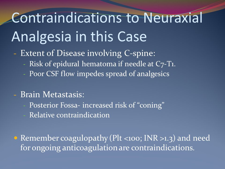 Contraindications to Neuraxial Analgesia in this Case