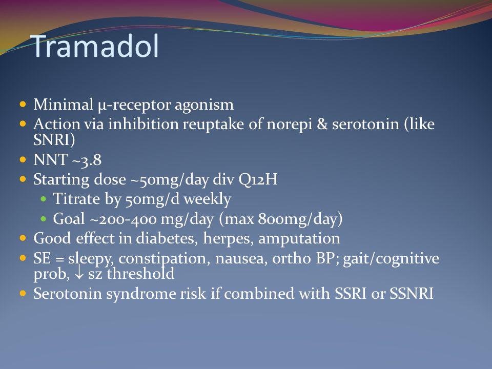 Tramadol Minimal μ-receptor agonism