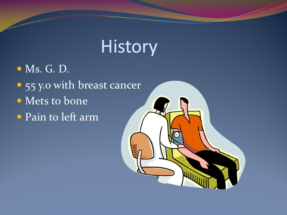History Ms. G. D. 55 y.o with breast cancer Mets to bone