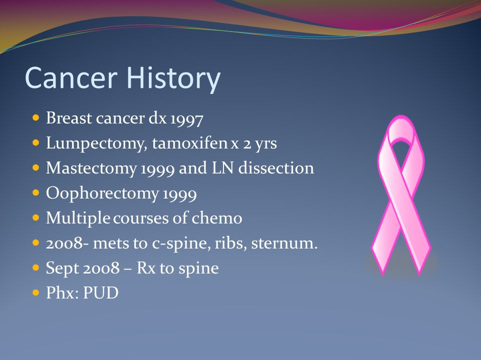 Cancer History Breast cancer dx 1997 Lumpectomy, tamoxifen x 2 yrs