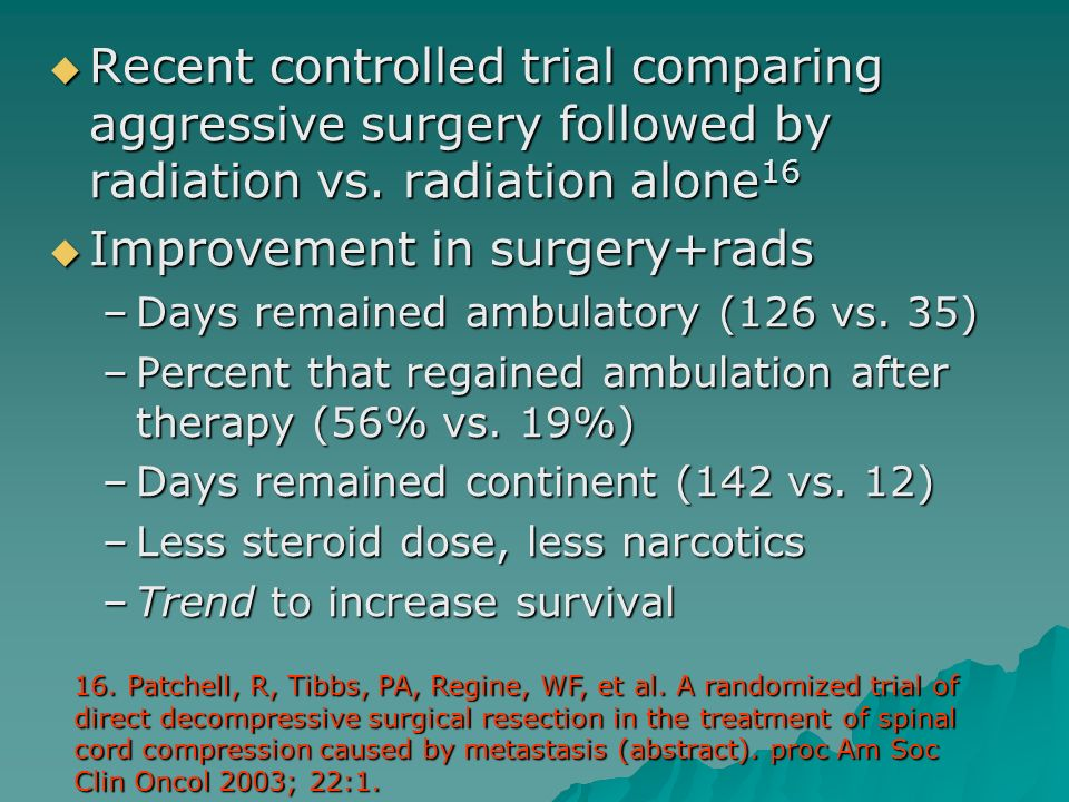 Improvement in surgery+rads