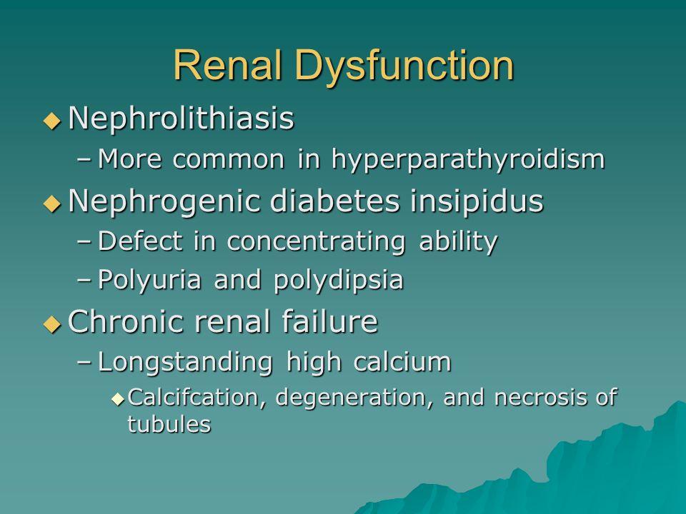 Renal Dysfunction Nephrolithiasis Nephrogenic diabetes insipidus
