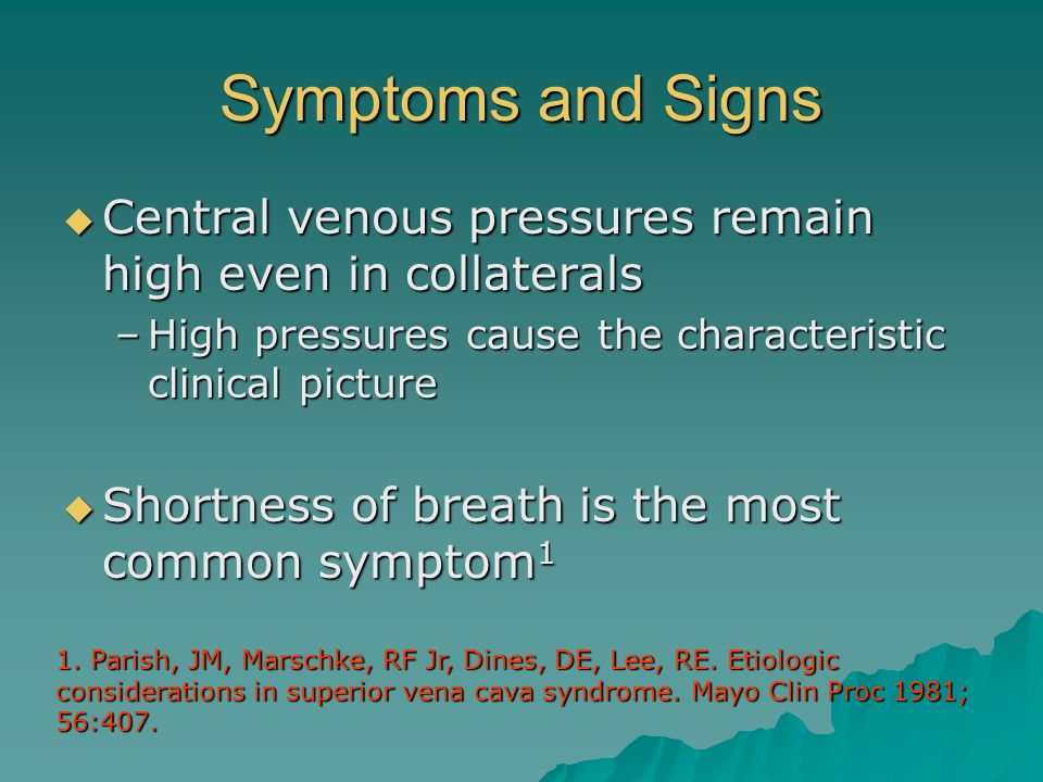 Symptoms and Signs Central venous pressures remain high even in collaterals. High pressures cause the characteristic clinical picture.
