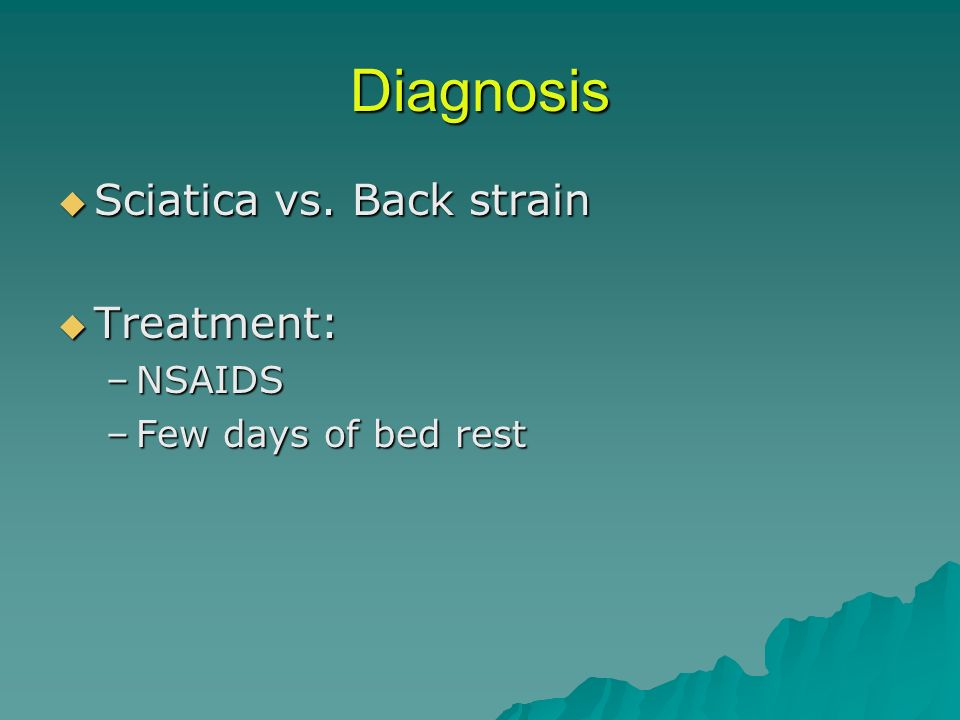 Diagnosis Sciatica vs. Back strain Treatment: NSAIDS