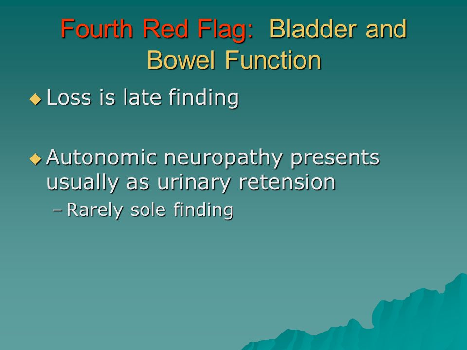 Fourth Red Flag: Bladder and Bowel Function