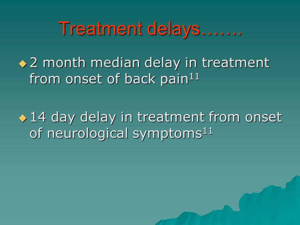 Treatment delays……. 2 month median delay in treatment from onset of back pain11.