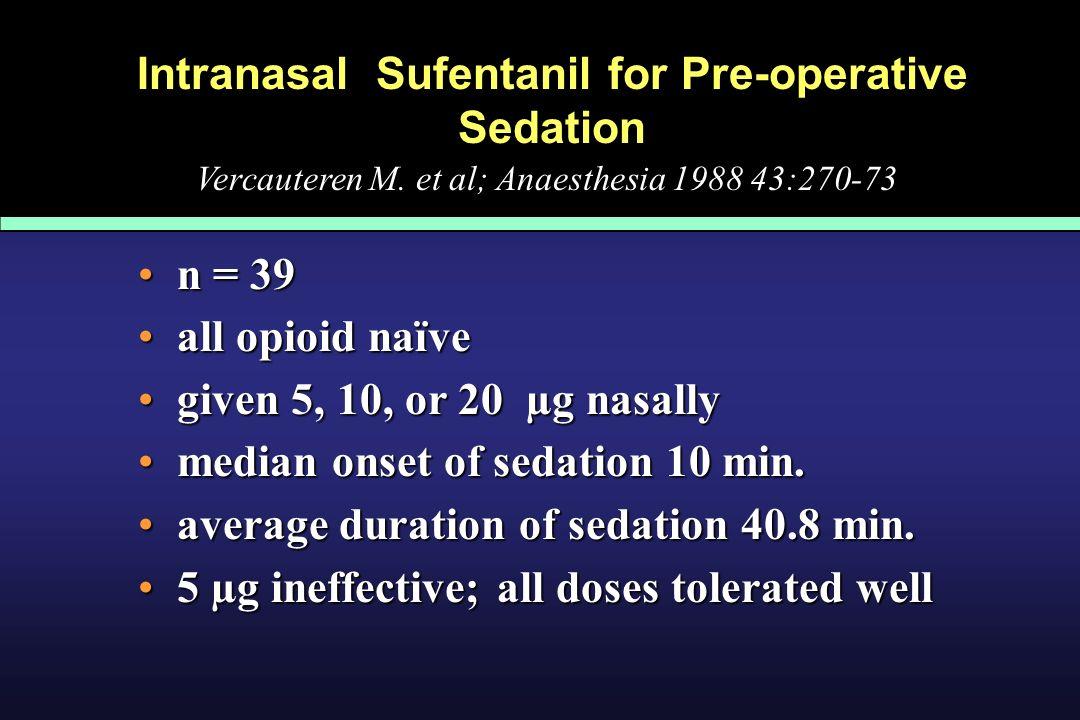 Intranasal Sufentanil for Pre-operative Sedation