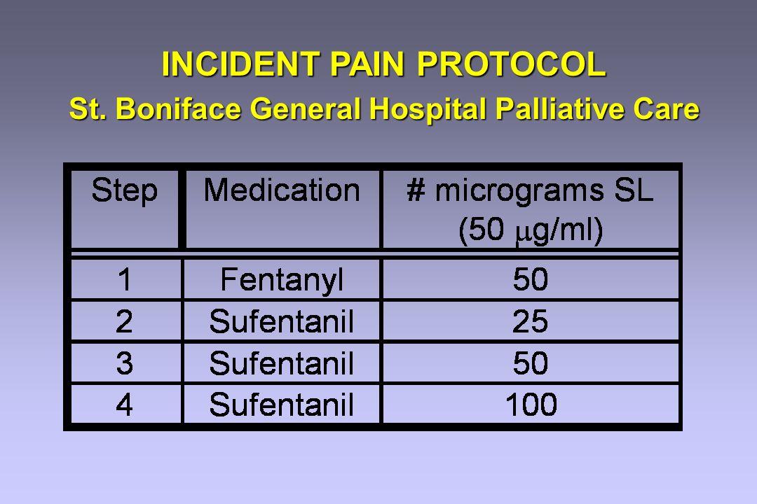 INCIDENT PAIN PROTOCOL St. Boniface General Hospital Palliative Care