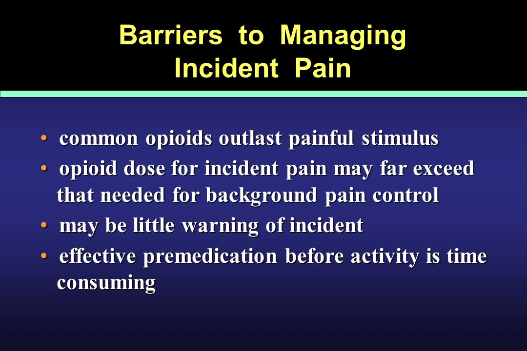 Barriers to Managing Incident Pain