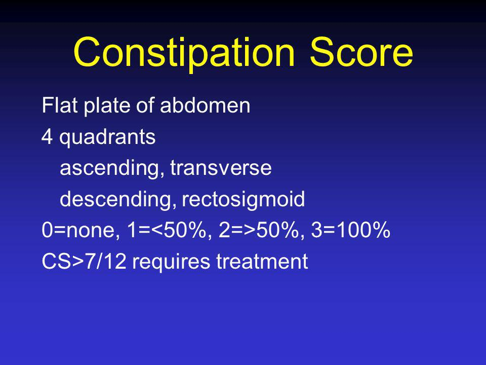 Constipation Score Flat plate of abdomen 4 quadrants