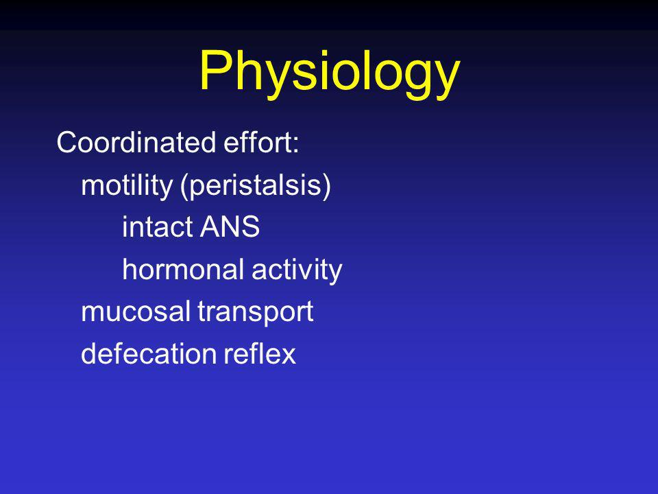 Physiology Coordinated effort: motility (peristalsis) intact ANS