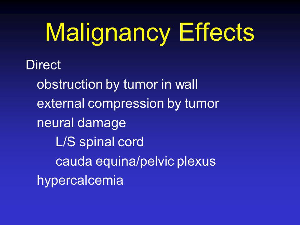 Malignancy Effects Direct obstruction by tumor in wall