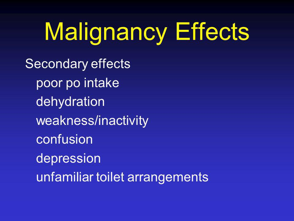 Malignancy Effects Secondary effects poor po intake dehydration