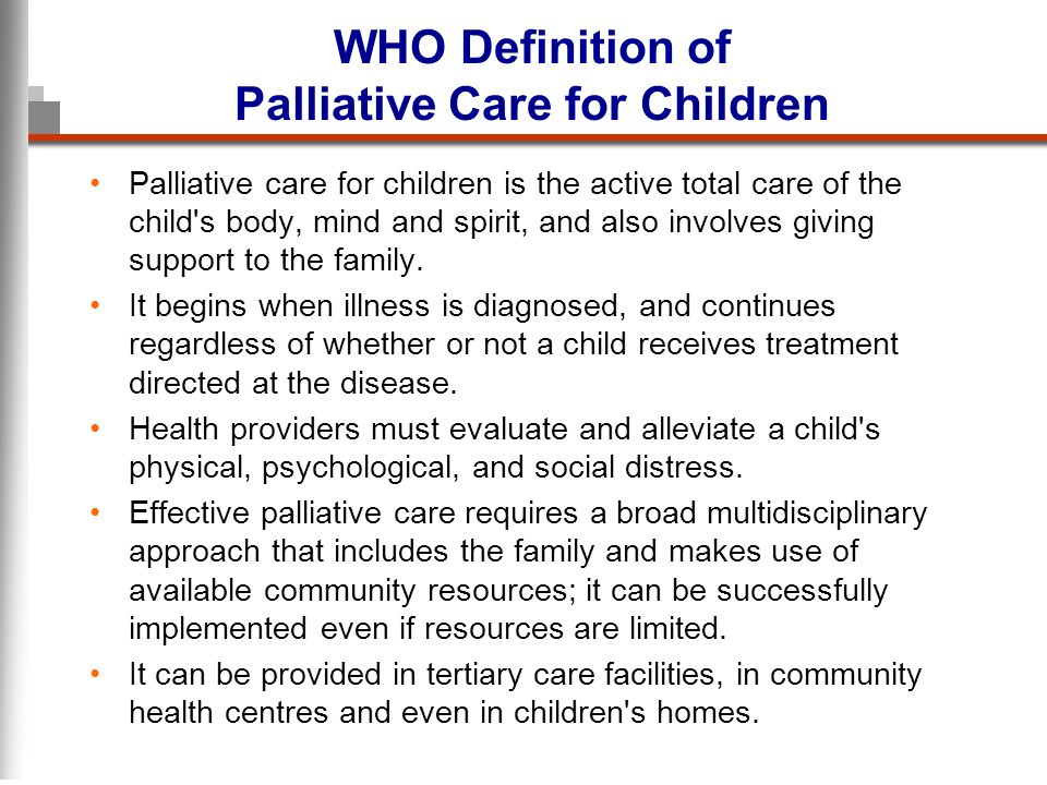 WHO Definition of Palliative Care for Children