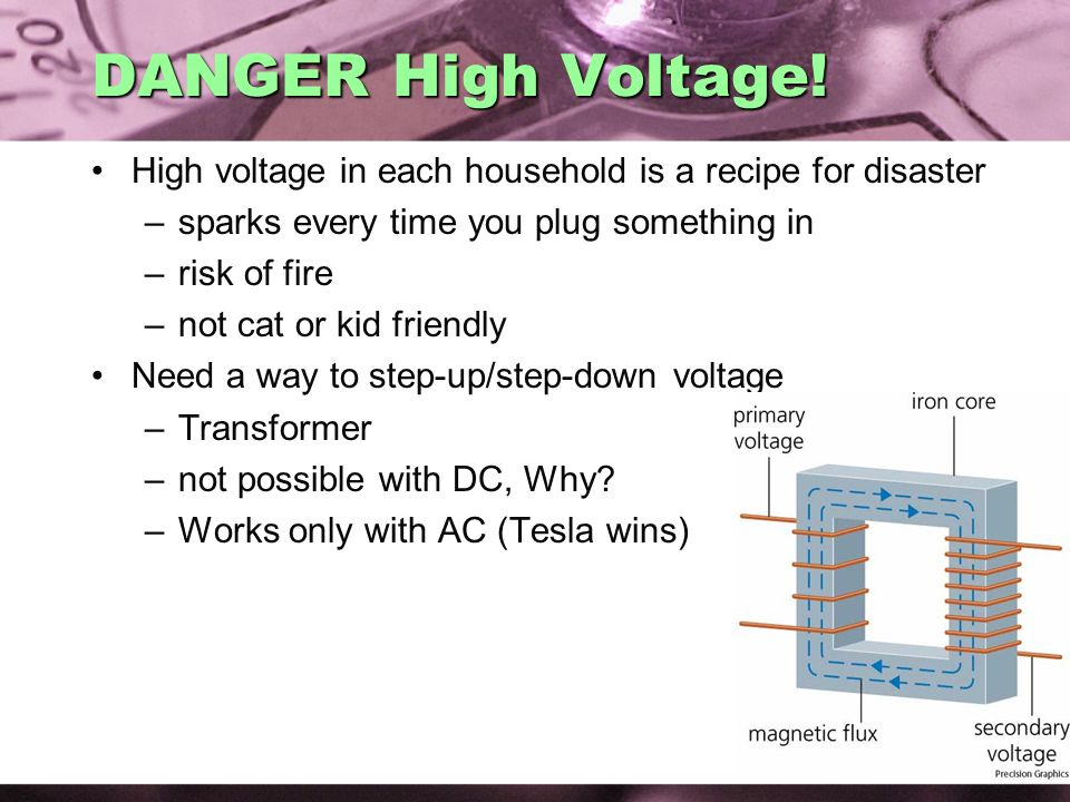 AC Electricity 02/07/2008. DANGER High Voltage! High voltage in each household is a recipe for disaster.