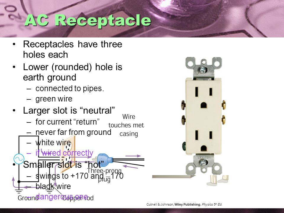 AC Receptacle Receptacles have three holes each