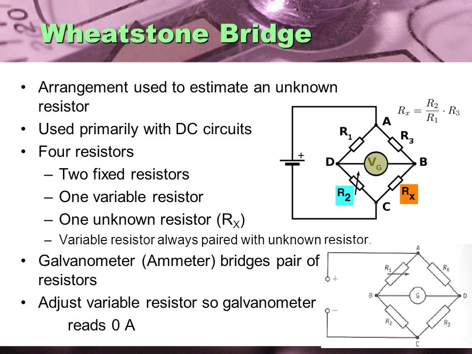 Wheatstone Bridge Arrangement used to estimate an unknown resistor
