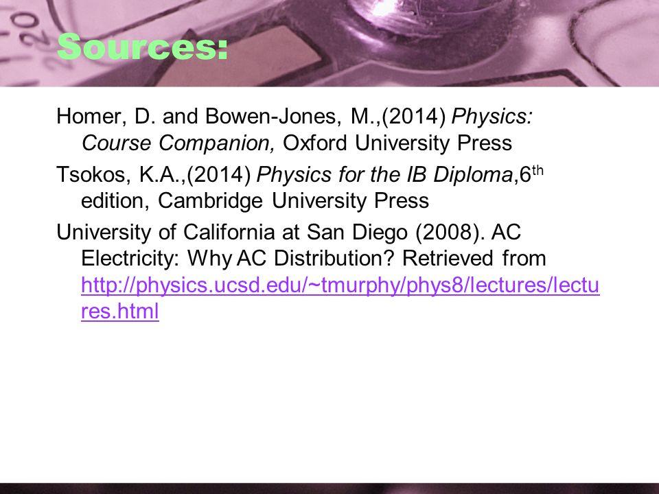 Sources: Homer, D. and Bowen-Jones, M.,(2014) Physics: Course Companion, Oxford University Press.