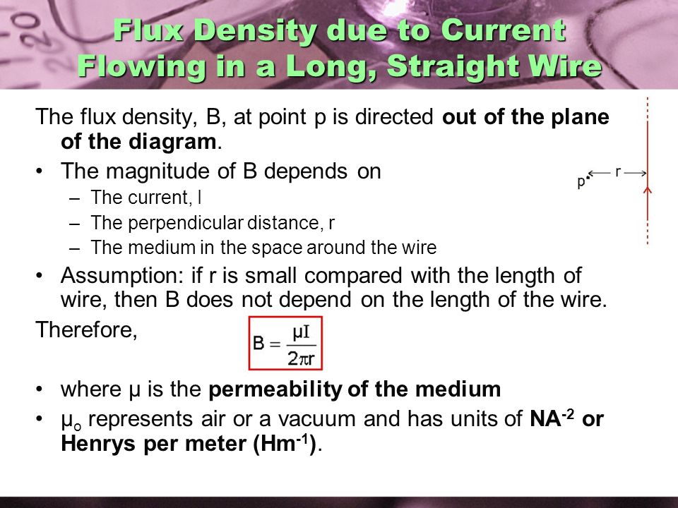 Flux Density due to Current Flowing in a Long, Straight Wire
