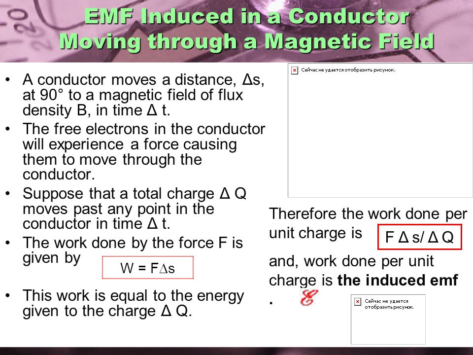 EMF Induced in a Conductor Moving through a Magnetic Field