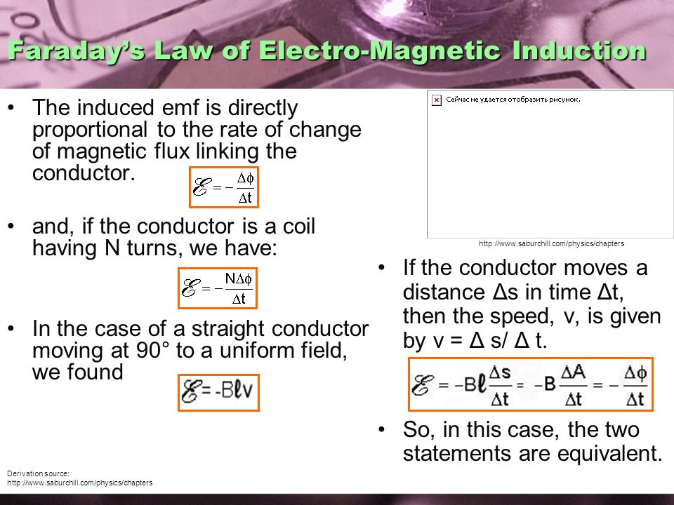 Faraday's Law of Electro-Magnetic Induction