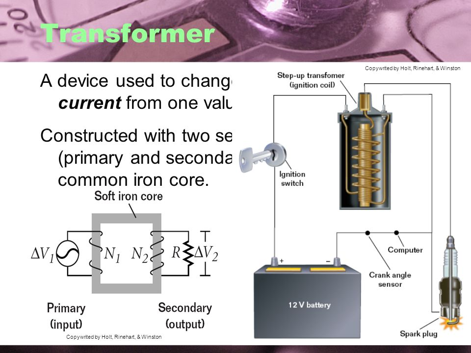 Transformer Copywrited by Holt, Rinehart, & Winston. A device used to change voltage in an alternating current from one value to another.