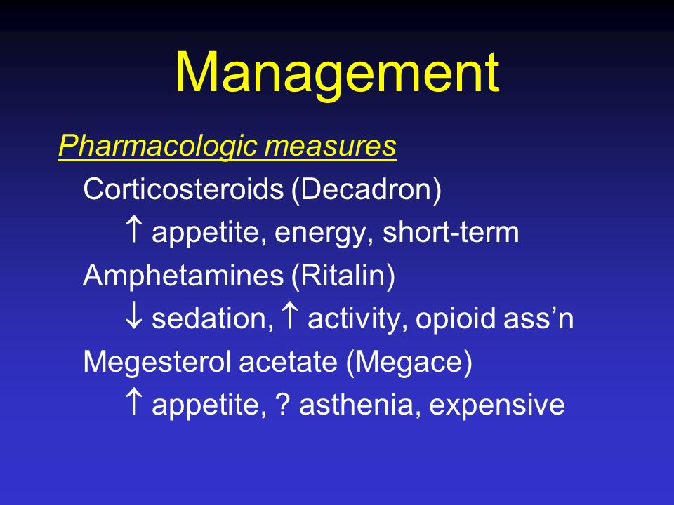 Management Pharmacologic measures Corticosteroids (Decadron)