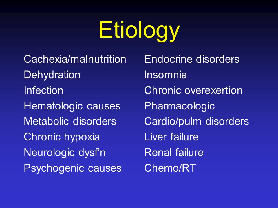 Etiology Cachexia/malnutrition Dehydration Infection