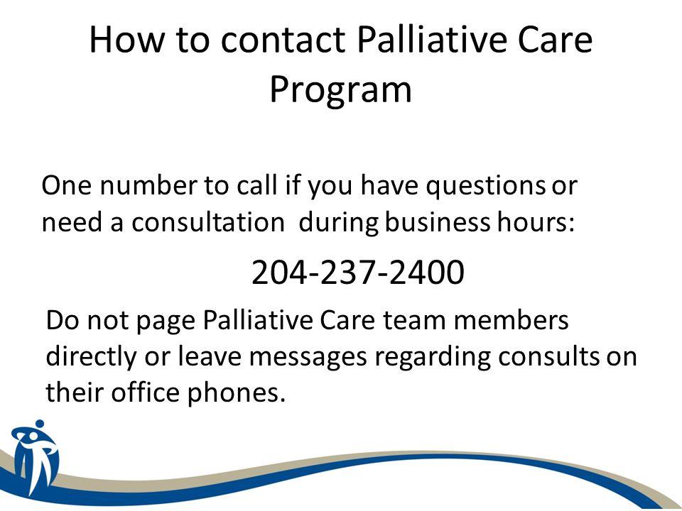 How to contact Palliative Care Program