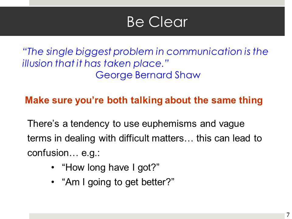 Be Clear The single biggest problem in communication is the illusion that it has taken place. George Bernard Shaw.