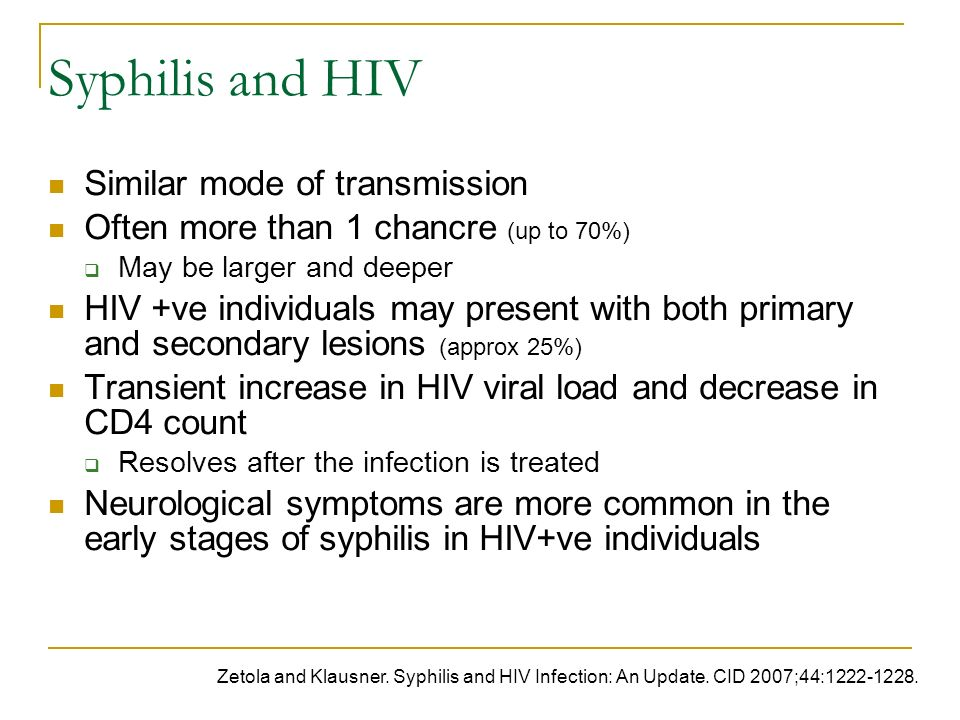 Syphilis and HIV Similar mode of transmission