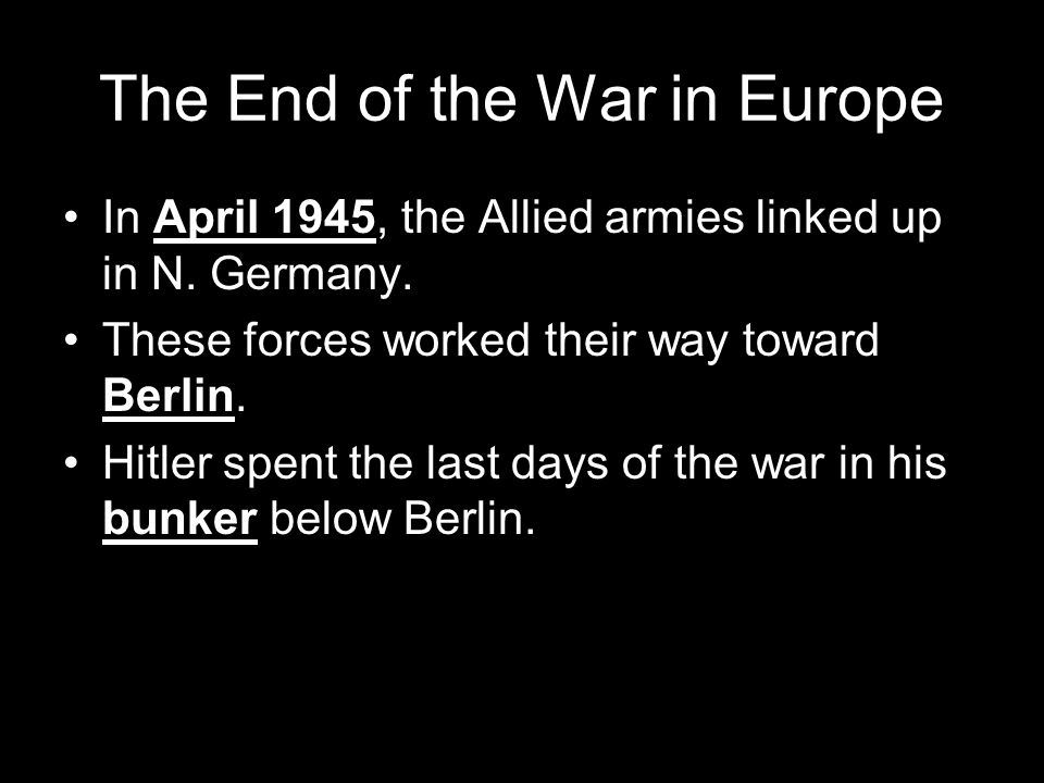 The End of the War in Europe
