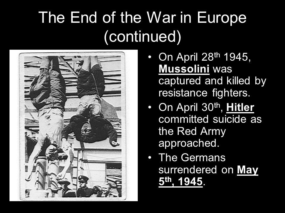 The End of the War in Europe (continued)