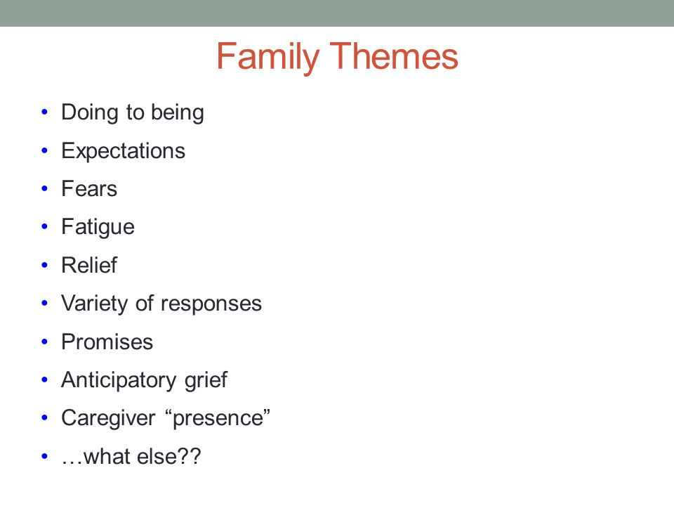Family Themes Doing to being Expectations Fears Fatigue Relief