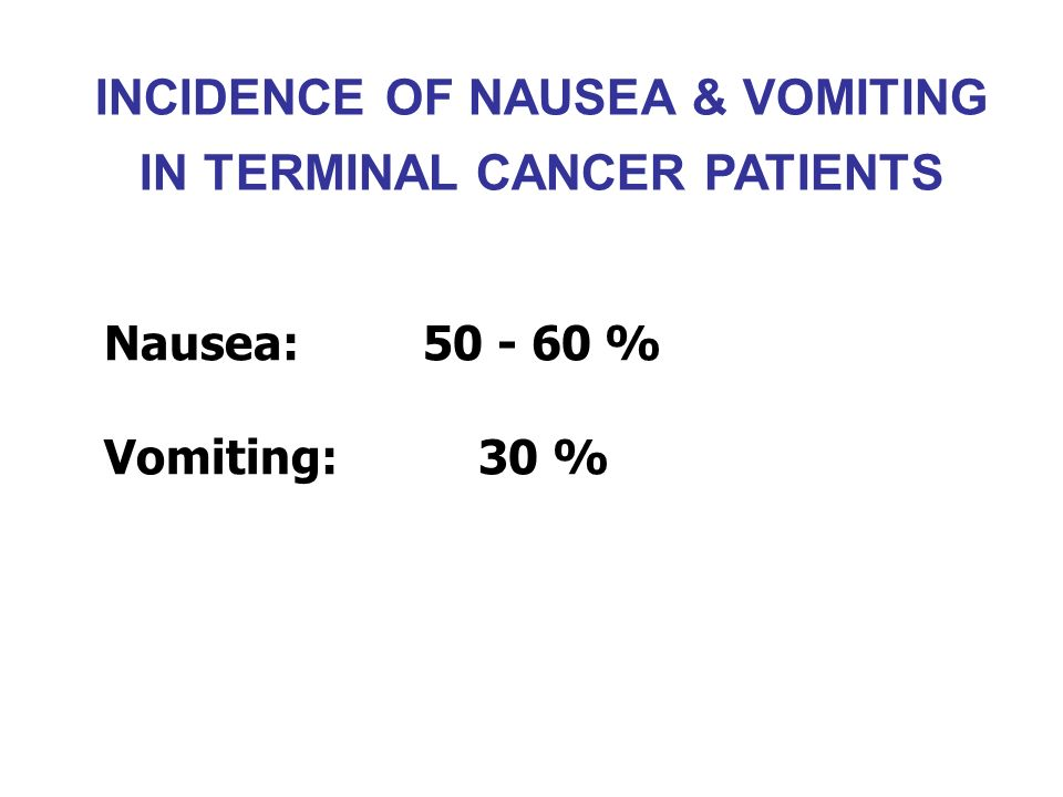 INCIDENCE OF NAUSEA & VOMITING IN TERMINAL CANCER PATIENTS