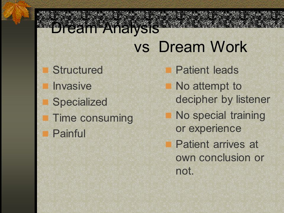 Dream Analysis vs Dream Work