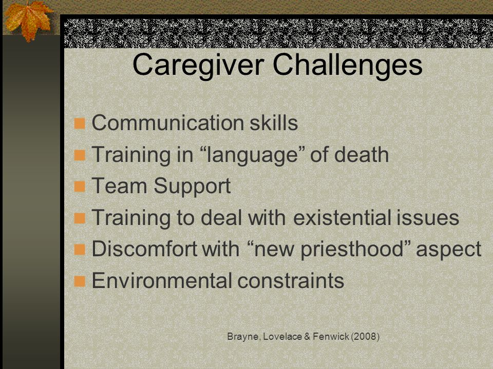 Caregiver Challenges Communication skills