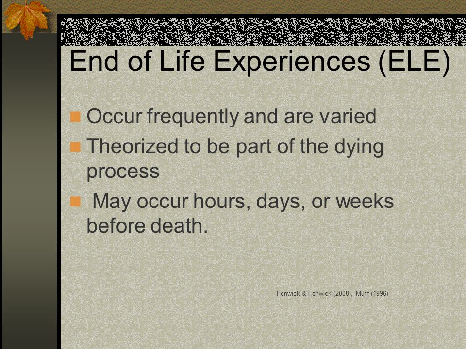 End of Life Experiences (ELE)