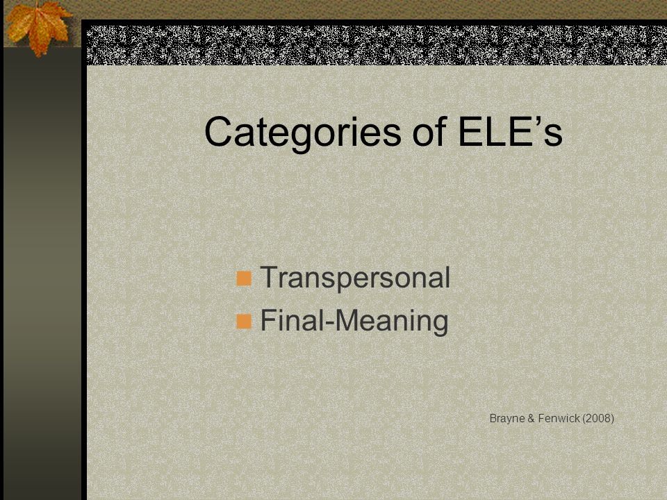 Categories of ELE's Transpersonal Final-Meaning