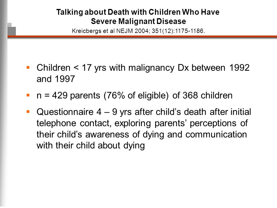 Talking about Death with Children Who Have Severe Malignant Disease