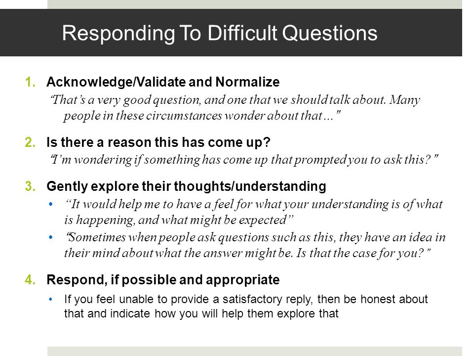 Responding To Difficult Questions