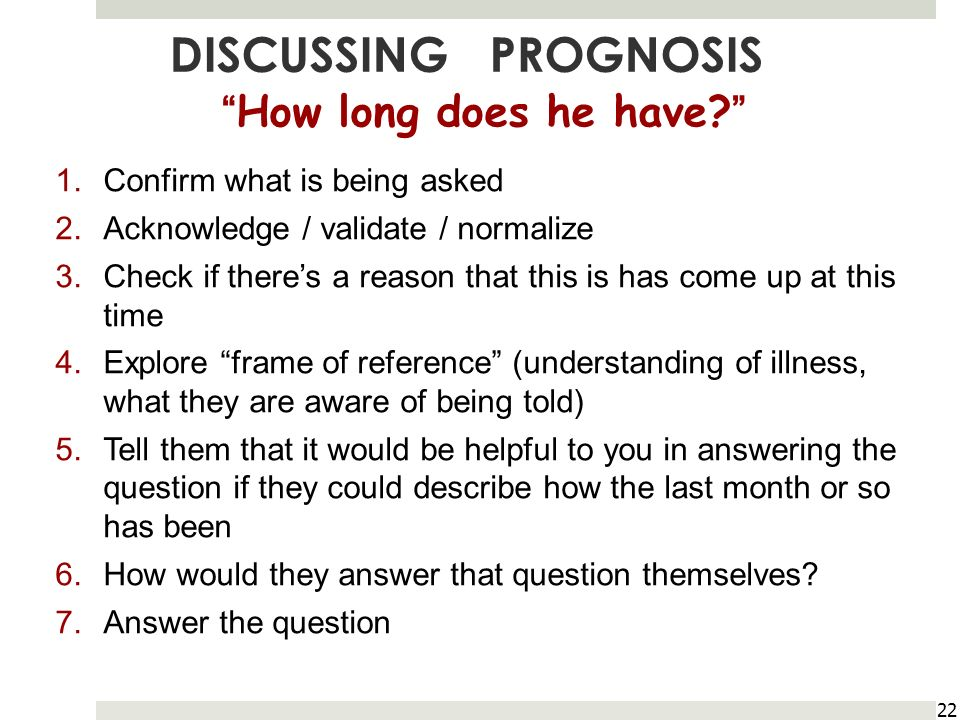 DISCUSSING PROGNOSIS How long does he have