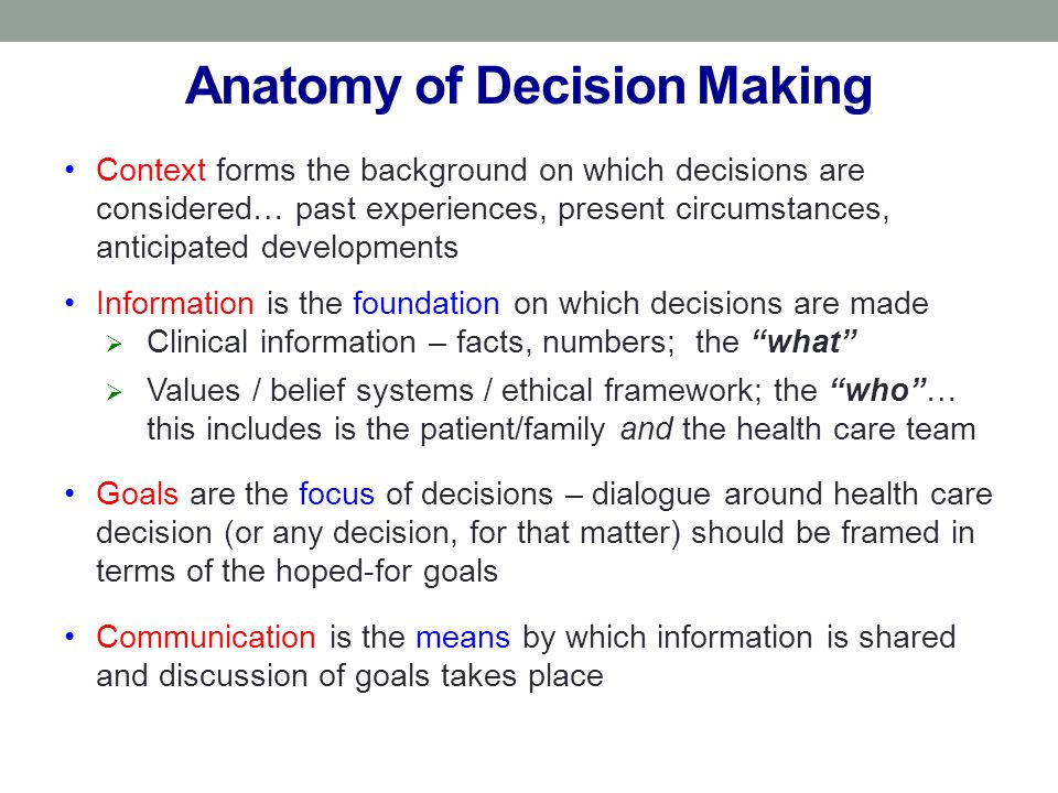 Anatomy of Decision Making