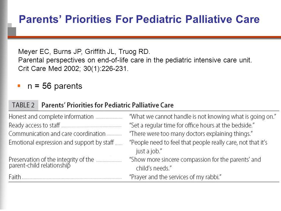 Parents' Priorities For Pediatric Palliative Care