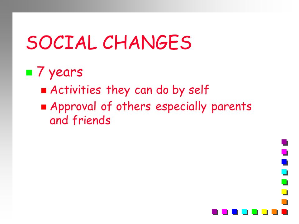 SOCIAL CHANGES 7 years Activities they can do by self