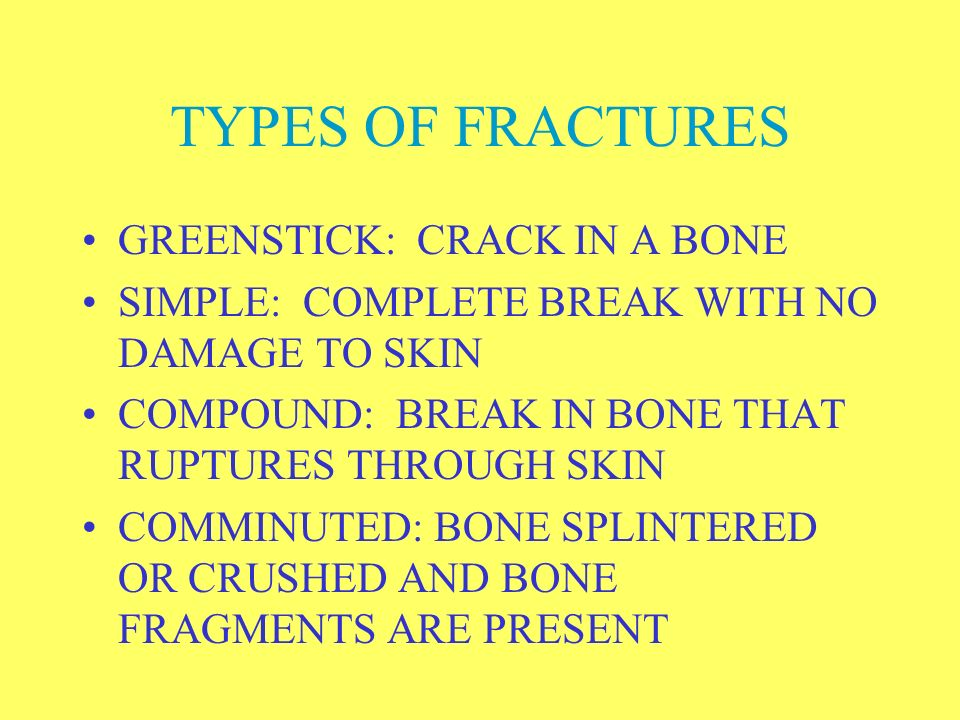 TYPES OF FRACTURES GREENSTICK: CRACK IN A BONE