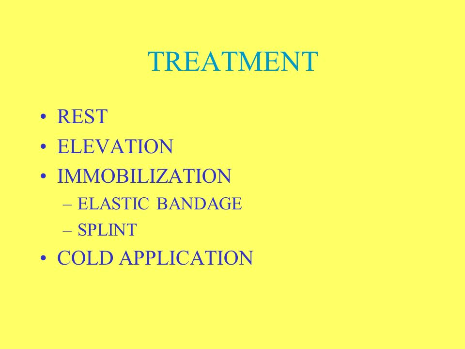 TREATMENT REST ELEVATION IMMOBILIZATION COLD APPLICATION