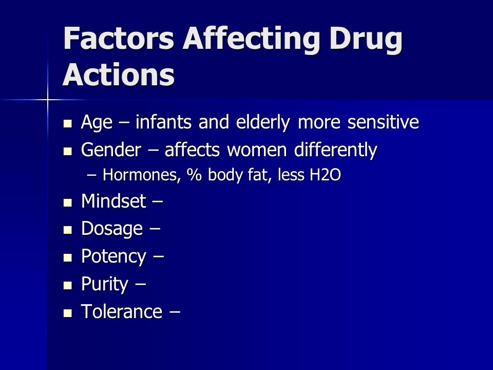 Factors Affecting Drug Actions
