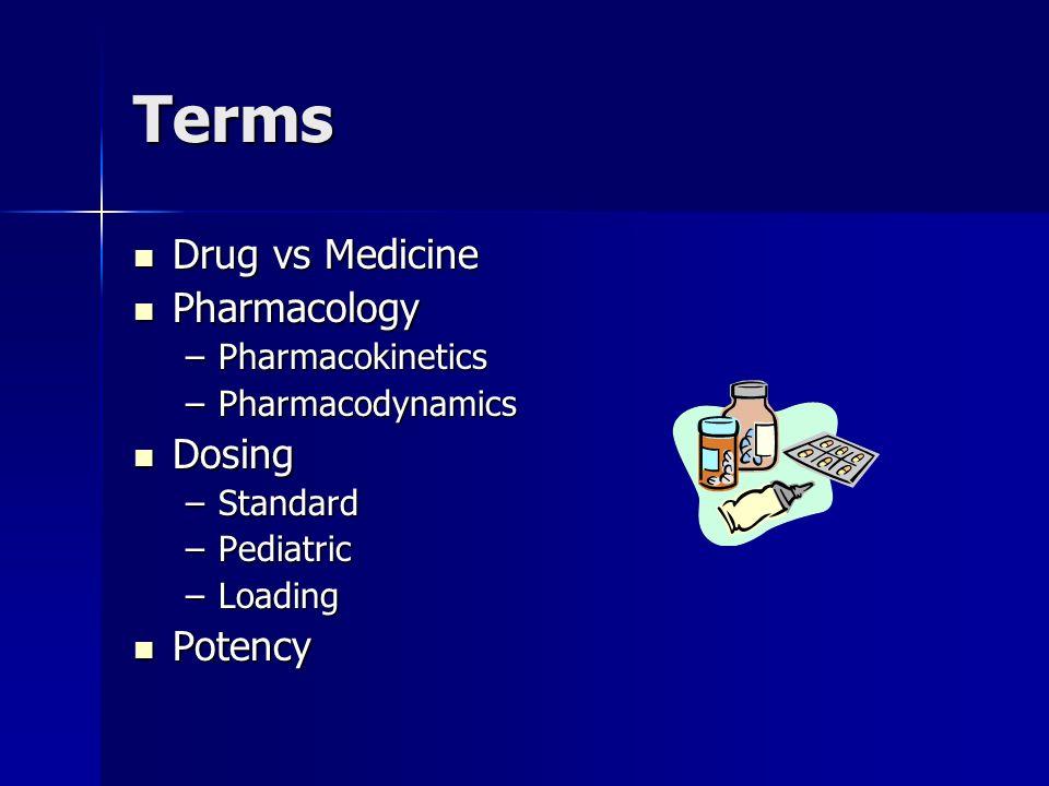 Terms Drug vs Medicine Pharmacology Dosing Potency Pharmacokinetics
